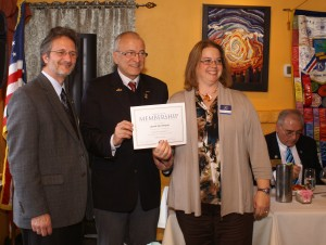 From left to right, Kiwanis Club of Trenton President, Robert Bullington, Kiwanis International President Gunter Gasser and newly-inducted member of the Kiwanis Club of Hamilton, Jackie Patterson
