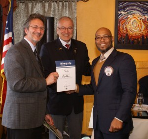 From left to right, Kiwanis Club of Trenton President, Robert Bullington, Kiwanis International President Gunter Gasser and newly-inducted member of the Kiwanis Club of Trenton, Jacque Howard