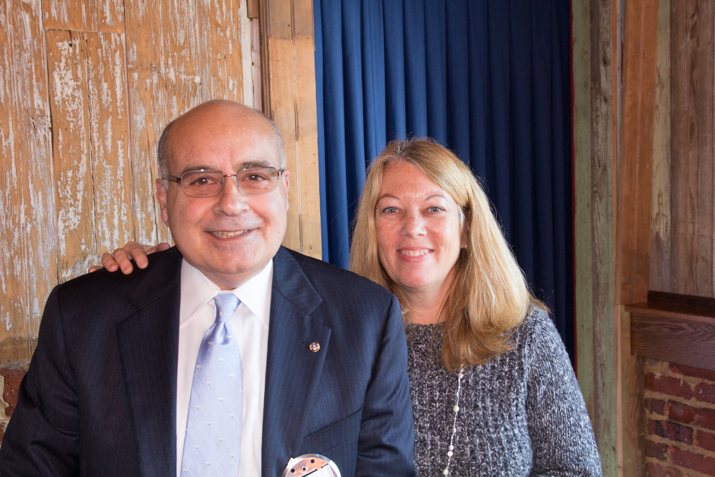 Past-president Joe Teti with Laurie Pellichero